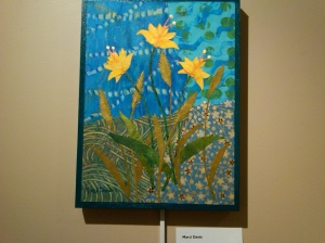 """""""GoldFlower"""". Paper and paint collage. Marci Davis."""