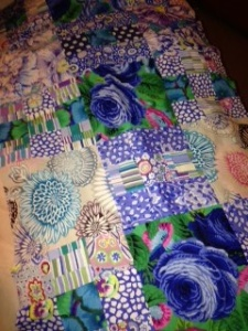I just love the juxtaposition of the greens, purples and blues. It's Kaffe Fasset fabric. Gorgeous!