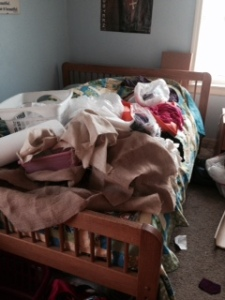 the mess on the bed.