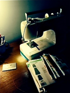 My little, orderly (for the moment) sewing area.