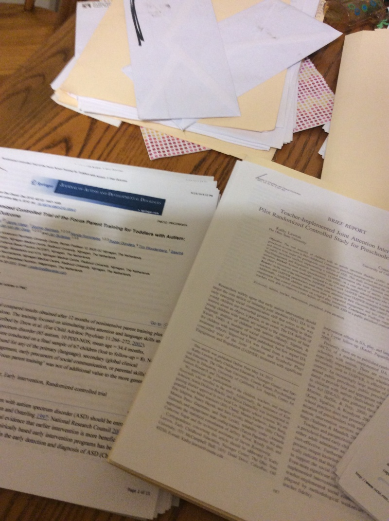 Writing involves scouring the autism literature for articles, decifering them, and writing a summary.